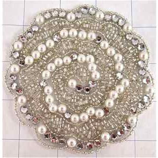 Designer Motif with White Pearls Rhinestones and Silver Beads  4""