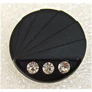 Button Jade Black with Rhinestones 1""