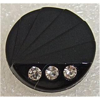 Button Black Color with Three Rhinestones  3/4""