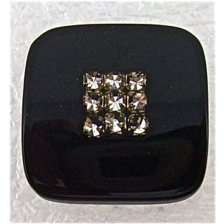 Button Square Black with Rhinestones 3/4""