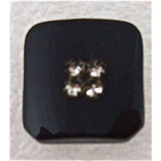 Button Black with Rhinestones 1/5""