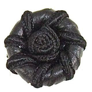 Button Black Leather with Flower Swirl 1""