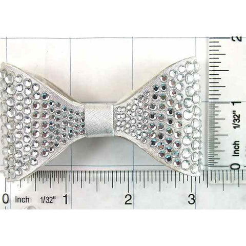 "Bow with Crystals on Satin Fabric 1.75"" x 3.25"" x .5"" depth"
