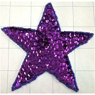 "Star with Purple Sequins and Beads 4"" x 4"""