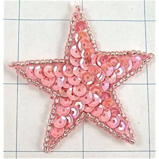 Star Pink Sequins and beads 2.25""