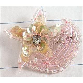 "Star Moon Iridescent Pink with Rhinestones 1.5"" x 1"""