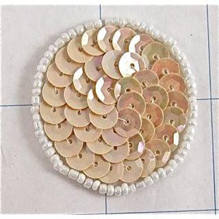 Circle and Dot Beige Sequins and White Beads  1.5""