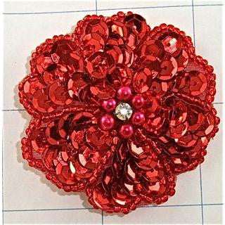 Flower with Red Sequins and Beads, Center Rhinestone  2""
