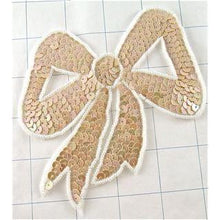 "Load image into Gallery viewer, Bow Beige with White Bead Trim 4.5"" x 4.5"""