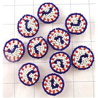 "Clock Set of 10 Red White Blue Beads 1"" x 1"""