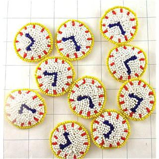 10 PACK Clock set of Beaded Clocks  1.5""
