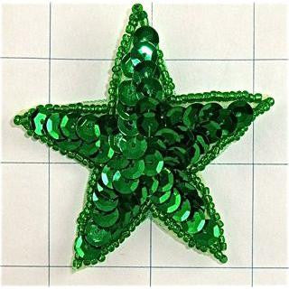 Star with Green Sequins and Beads 2.5""
