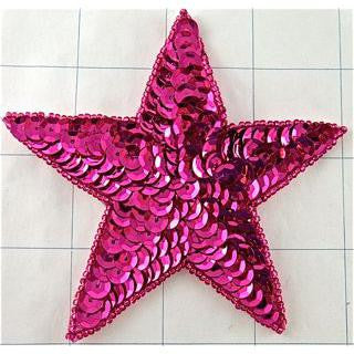 Star with Fuchsia Sequins and Beads 4""