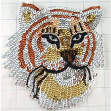 "Load image into Gallery viewer, Tiger with Multi Colored Sequins 4"" x 4"""