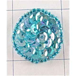Circle and Dot Iridescent Lite Turquoise 1""