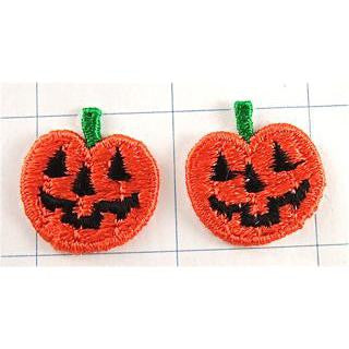 "Pumpkin Two with Orange and Black Face Embroidered 1"" x 1"""