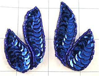 ROYAL BLUE SEQUIN MOTIFF PAIR  2""