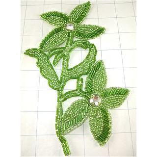 "Flower Lime Green with Beads and Crystals 8"" x 5"""