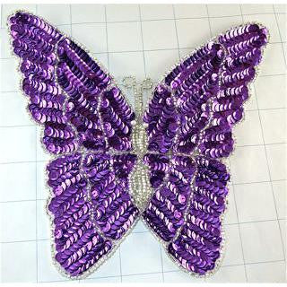 "Butterfly with Purple Sequins and Silver Beads 8"" x 7"""