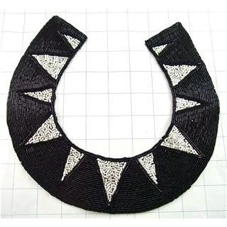 "Designer Neck Line with Black and White Beads 9"" x 9.5"""