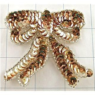 "Bow Gold Sequins Silver Trim* 3"" x 3"""