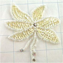 "Epaulet Pair with Cream Sequins White Beads and AB Rhinestones on fringe and flower 4"" x 3.5"""