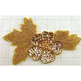 "Flower with Gold Sequins and Beads 6"" x 4"""