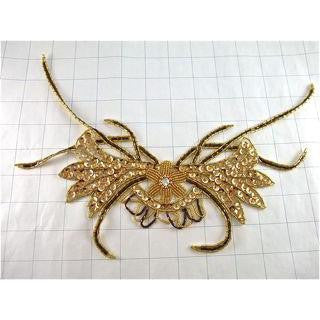 "Neck Piece Gold Crab-shaped 12"" x 7.5"""