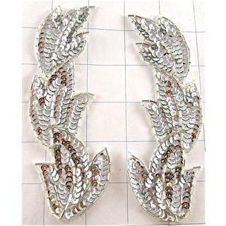 SILVER SEQUIN LEAF PAIR  6""
