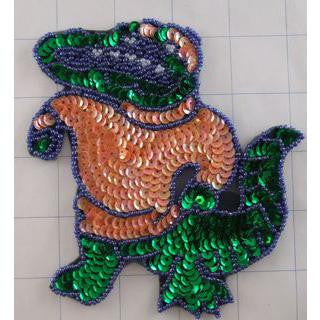 "Alligator with Peach and Green Sequins and Beads 5"" x 5"""