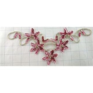 "Flower Neck Line with Pink Sequins and Silver Beads 4.5"" x 10"""