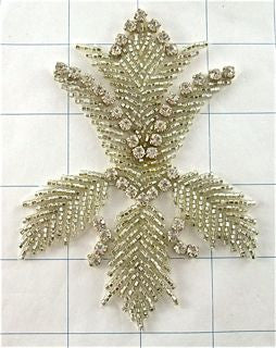 "Flower with High Quality Rhinestones Silver Beads in Tulip Shape 4.5"" x 3"""