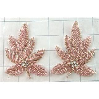 "Leaf Pair with Pink Beads and Rhinestones 3.5""x 2.5"""