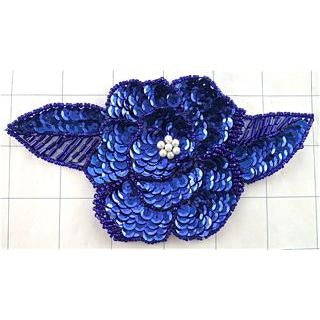 "Flower Royal Blue Bugle Beads 3.5"" x 6"""