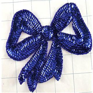 "Bow  with Royal Blue Sequins and Beads 5"" x 4.5"""