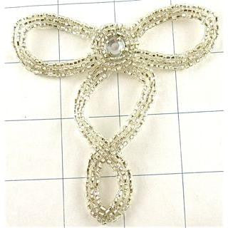 "Designer Motif with Silver Beads and Acrylic Rhinestone 4"" x 3.5"""