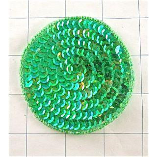 Circles and Dots Lime Green Brilliant Sequins and Beads 3""