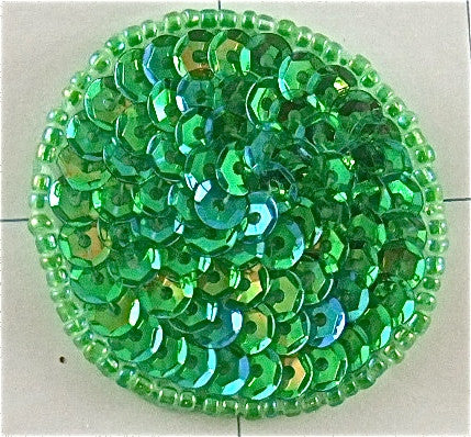 6 PACK Circles and Dots with Brilliant Lime Green Sequins and Beads 1.5""