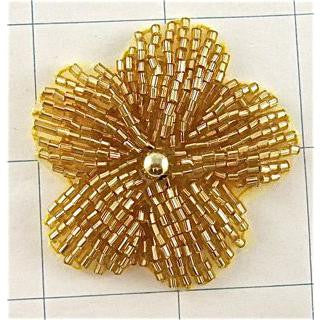 "Flower Gold Beaded 2"" x 2"""