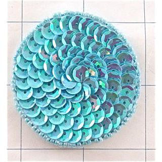 Circles and Dots with Lite Sky Blue Sequins and Beads 2""