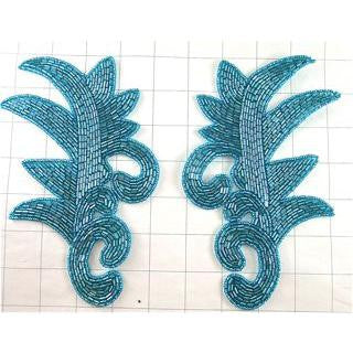 "Design Motif Leaf Pair Turquoise Beads 7.5"" x 5"""