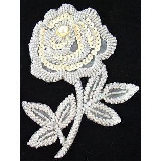 "Flower with Iridescent Beads and Cream Sequins  5"" x 4"""