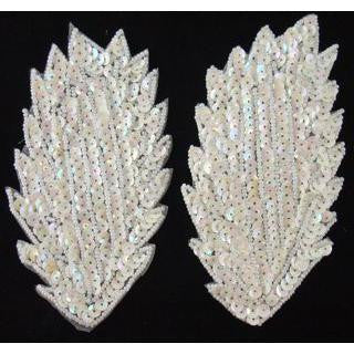 "Leaf Pair with White Sequins and Beads  5"" X 2.5"""