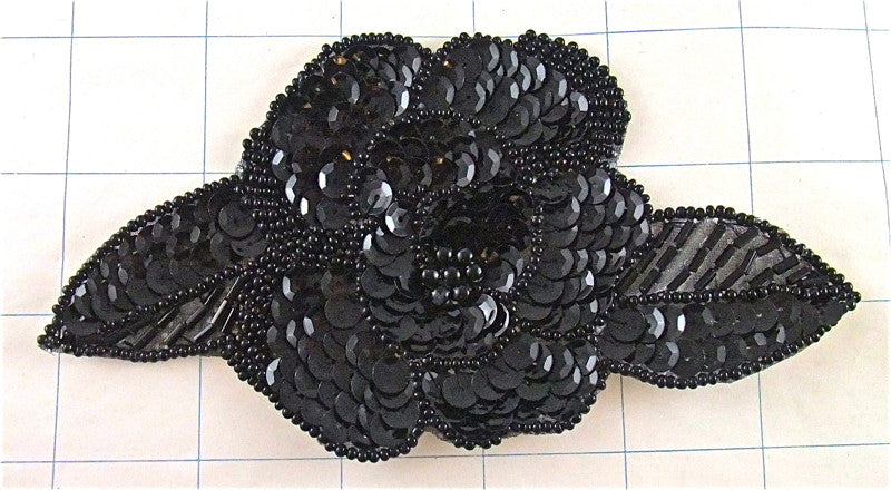 "Flower Black with Sequins and Beads 6"" x 3"""