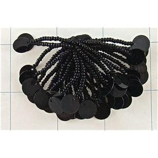 "Epaulet Pom Pom with Black Beads and Sequins 3"" x 2"""
