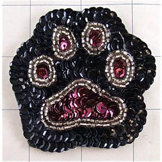 "Paw Print with Burgundy with black felt backing  2.5"" x 3"""