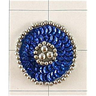 Designer Motif Royal Blue Circle with Silver Beads 1.5""
