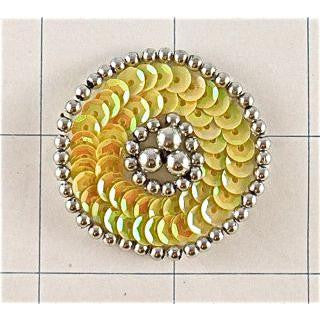 Motif Yellow Round Applique with Silver Beading Surround