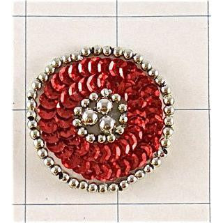 Designer Motif Red Circle with Silver Beads 1.5""