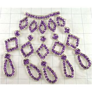"Designer Motif Neckline Purple and Silver with Beads 6"" x 7"""